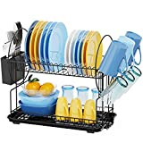 Dish Drying Rack, GSlife Rust-Resistant 2 Tier Dish Rack with Drainboard, Utensil Holder & Cup Holder Set for Kitchen Counter, Black