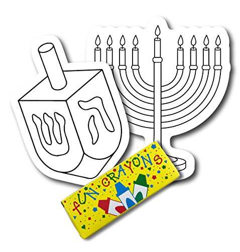 Color Your Own Hanukkah Dreidle and Menorah Magnets, 2 Pack, a Great DIY for You or to Share with a Friend, Decorate Magnetic Menorah and Dreidle Refrigerator Magnets - with Bonus 4 Pack of Crayons