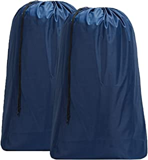 HOMEST 2 Pack XL Nylon Laundry Bag, Machine Washable Large Dirty Clothes Organizer, Easy Fit a Laundry Hamper or Basket, Can Carry Up to 4 Loads of Laundry, Blue