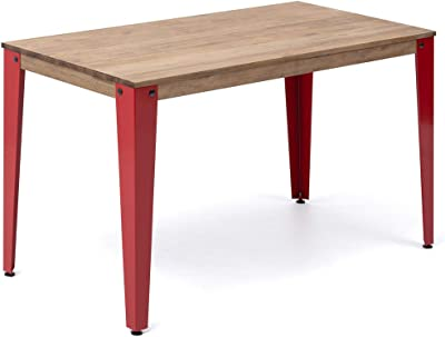 Table Lunds Bureau Salle à manger ou bureau 120 x 60 x 75 cm Rouge en bois massif de pin finition vintage style industriel Box Furniture
