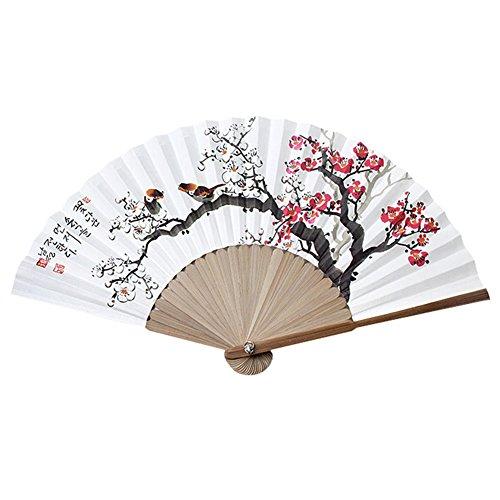 Unbekannt Koreanischer Traditioneller Bambus Hanji Handfächer + Papier-Geschenketui, faltbar, groß (UME Flower)