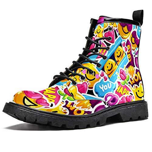 LORVIES - Pegatinas para rostros con diseño de dibujos animados de amor, botas altas para hombre, zapatos con cordones de piel, (multicolor), 42.5 EU