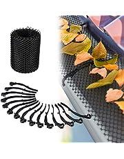 Relaxdays Dakgoot bladbescherming, 6 m lang, kunststof bladrooster voor regengoot, 15 cm breed, zwart