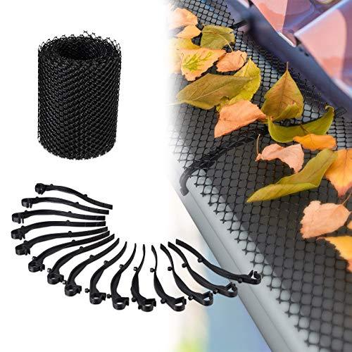 Relaxdays, Negro, 15 cm de Ancho Protector Canalones, Malla de 6 Metros, Plástico, Jardinería