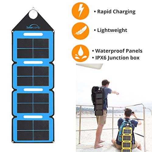 Solar Camp 5V 7.6W Portable USB Solar Charger Waterproof Foldable Camping Travel Charger with 2 USB Compatible w/Most Small USB Devices- Smartphones, Tablets, GPS, Power Banks, etc. (Blue)