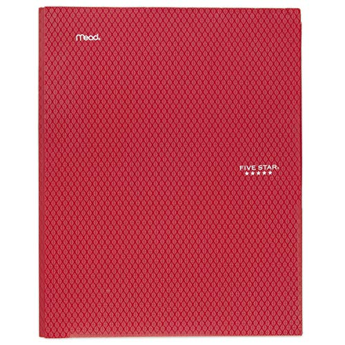 """Five Star 2-Pocket Folder, Stay-Put Folder, Plastic Colored Folders with Pockets & Prong Fasteners for 3-Ring Binders, For Home School Supplies & Home Office, 11"""" x 8-1/2"""", Red (72109)"""