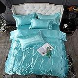 juegos de sábanas de 160x200,Lavar la seda de hielo es una hoja de manga cuatro conjuntos de regalos de suministros de cama de color sólido-Y_1,8 m de cama (4 piezas) (20 series de 200 * 230)
