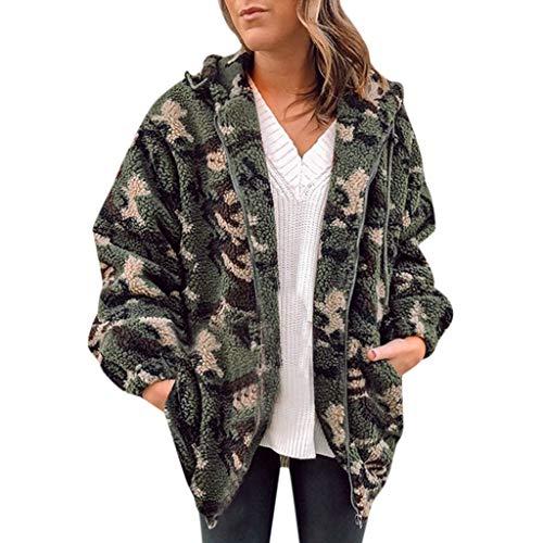 Honestyivan Damen Winter Warm Fleece Camouflage mit Taschen Reißverschluss vorne offen Outwear Mantel - Grün - Groß