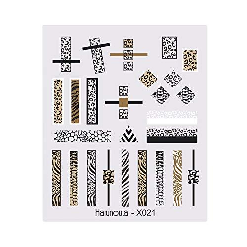 1 Blatt Abstrakte Dame Face Nagel -Abziehbilder Wasser Black Leaf Sliders Papier -Nagel -Kunst -Dekor -Gel -Polnisch -AufkleberFolien