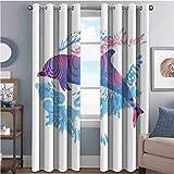 Cortina aislada con diseño de animales marinos, diseño de delfín, con motivos de colores, para sala de estar o dormitorio, 100 x 84 pulgadas, color azul, morado y rosa