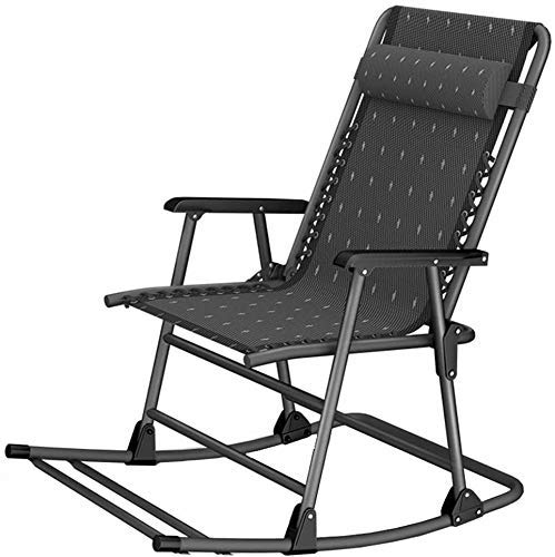 Sun Lounger Garden Chairs Folding Chair Camping Chairs Folding Lounge Rocking Chair Patio Pool Yard Outdoor Portable Chair For Camping Fishing Beach Zero Gravity Chaise Lounges Support 200kg Black
