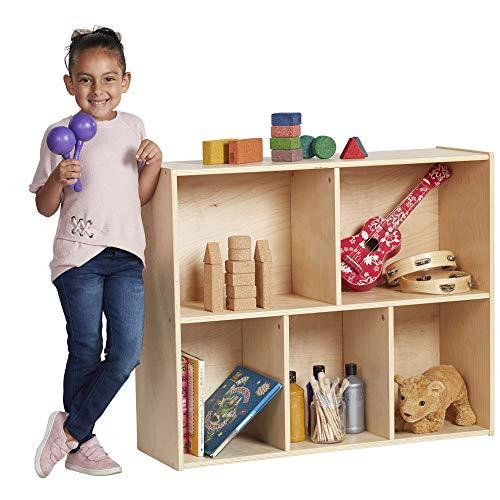 ECR4Kids Birch Streamline Storage Cabinet - Hardwood Classroom & Home Storage Solution for Kids - 5-Compartment, 30' H