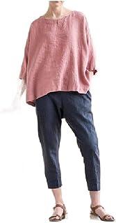 Tralounry Women's Cotton Loose T Shirts Round Neck Linen Oversized Top Shirt
