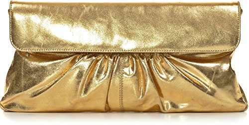 Leder Clutch mit Metallic-Optik von