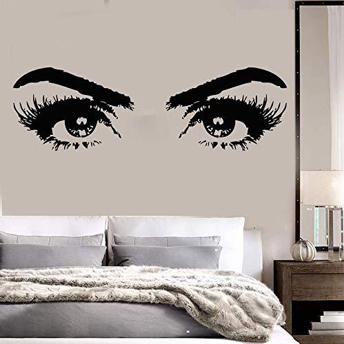 jtxqe Pared Moda Mujer Ojos Salón De Belleza Chica Habitación Tocador/Frases Españoles Vinilos Calcomanías Pegatinas Infantiles para Pared 137X42Cm