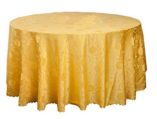 Black Temptation Banquets de Mariage Hôtels Accessoires de Table Nappes Rondes Couverture de Table Jaune (240 * 240CM)