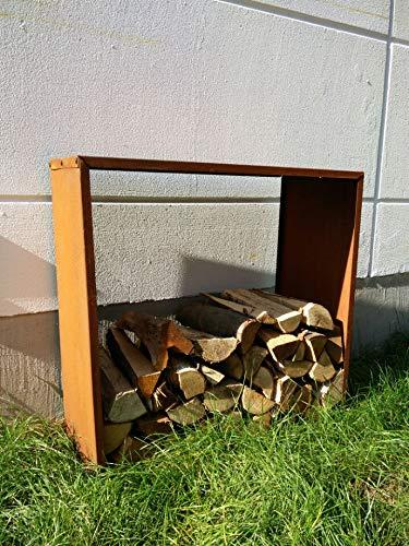 Zen Man Kaminholzregal Garten Rost Kaminholzunterstand Rost holzregal Kaminholz Rost Metall 031588 B35*L78*H78cm 1mm8,3kg