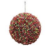 Simulation Garden Rose Topiary Colgante Flor Bolas - Hecho a Mano - UV Fundido Protegido - Bola de boj - 30Cm,Rojo