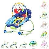 Hamaca modelo Fiesta de Chipolino, en 3 estampados diferentes. Con música, vibración y arco con juguetes para que el bebé se entretenga. (dino)