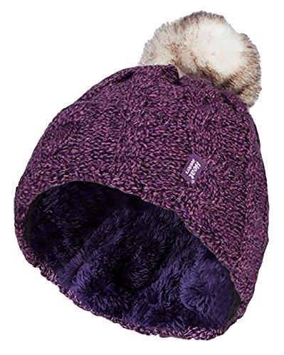 HEAT HOLDERS Ladies Warm Knit Fleece Lined Cuffed Thermal Winter Bobble Hat with Pom Pom One Size Purple