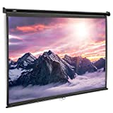 VonHaus 100-Inch Pull-Down Projector Screen - 16:9 Aspect Ratio - 1.1 Screen Gain Rating – Home Cinema/Theatre - For Wall or Ceiling Mounting