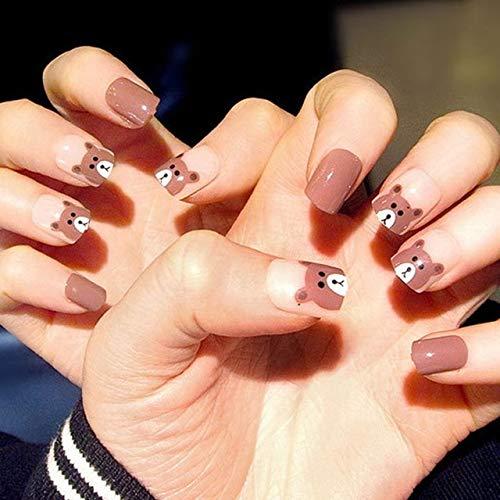 DKHF Valse nagels 24 stuks acryl nagel tips voor kinderen valse nagels nep nagels duidelijke franse nagels