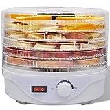 Tidyard Deshidratador de Alimentos con 6 bandejas apilables Redondo,con 6 Bandejas Ajustables,Temporizador,Temperatura Ajustable,Apto para Lavavajillas
