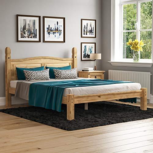 Home Discount Corona King Size Bett, 5 ft, Niedriges Fußteil, Rahmen massiv Distressed Gewachst Kiefer Holz Mexikanischen Schlafzimmer Möbel, H 117 x B 164 x T 217 cm
