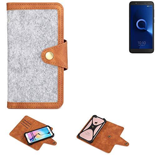 K-S-Trade® Handy-Hülle Für Alcatel 1C Dual SIM Schutz-Hülle Filz-Hülle Kunst-Leder Hellgrau Braun (1x)