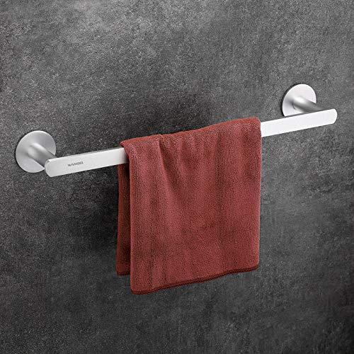 Wangel Handtuchstange Handtuchhalter ohne Bohren 45cm, Patentierter Kleber + Selbstklebender Kleber,Aluminium, Matte Finish, Silber