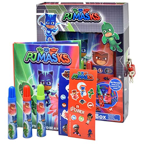 PJ Masks Coloring and Activity Set, Diary Journal Art Kit with Lock and Key, Drawing Sketch Pad Notebook, Markers and Craft Stickers for Girls Boys and Kids