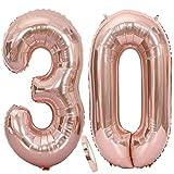 Cymeosh Globos con el número 30, globos gigantes de color oro rosa para mujer, globos para 30 cumpleaños, decoración para cumpleaños o bodas