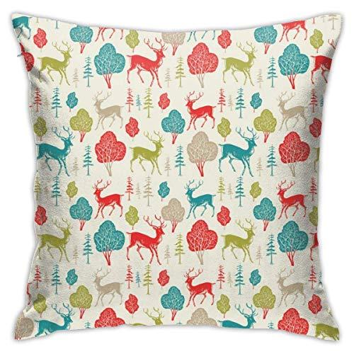 pingshang Kissenbezüge, Deer Cotton Polyester Kissen Quadratische Hüllen Pilloases Sofa Home Decor 18 'X 18'