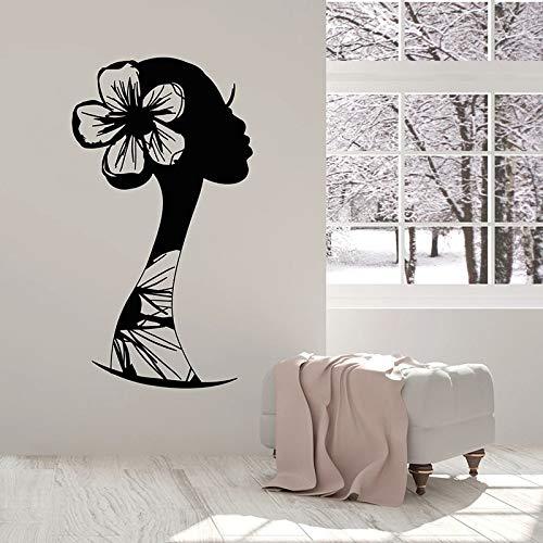HGFDHG Silueta Mujer Pared calcomanía Dibujo Hermosa niña Africana Ventana Vinilo Adhesivo Dormitorio salón de Belleza decoración de Interiores