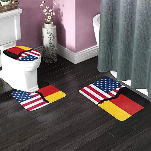 FETEAM Juego de Alfombrillas de Baño de 3 Piezas Banderas de Estados Unidos y Alemania Antideslizantes Absorbente Alfombra de Contorno y Cubierta de Tapa