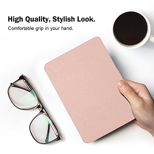 MoKo Kindle Paperwhite Hülle - Ultra Leightweight Schutzhülle Smart Cover mit Auto Sleep/Wake Funktion für Alle Kindle Paperwhite (2016/2015 / 2013/2012 Modelle mit 6 Zoll Display), Rose Gold