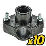 10 PZ PRESA A STAFFA SEMPLICE 32 X 1/2' PER IRRIGAZIONE TUBO ACQUA GIARDINAGGIO