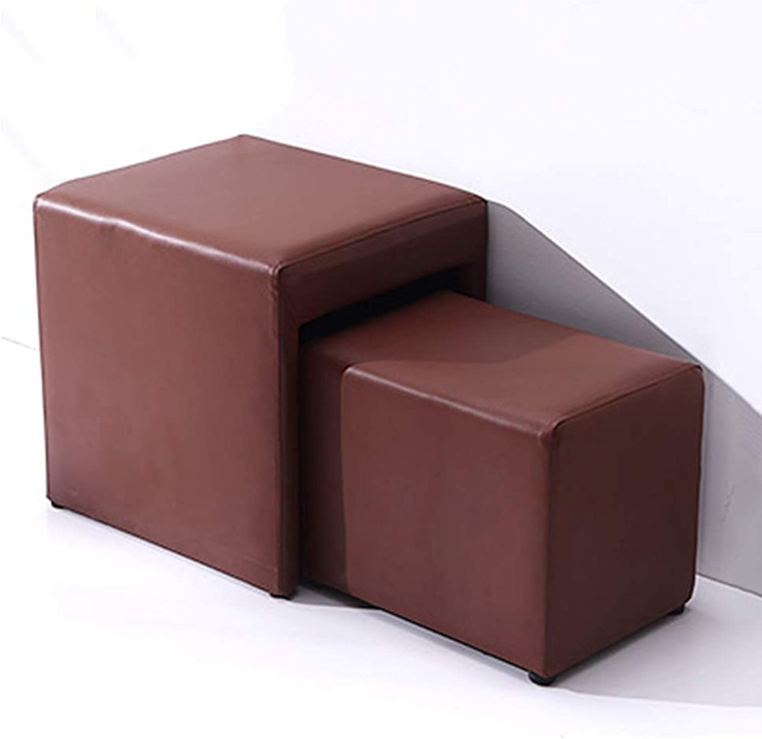 Sofa Stool Waterproof PU Square Creative Multifunctional Combination Coffee Stool (color   Brown)