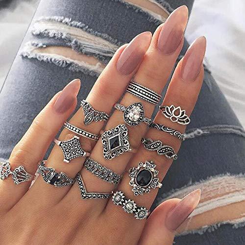 Deniferymakeup Vintage Silver Fashion Lotus Engraving Ring Sunflower Ring Black Gemstone Ring Set Finger Accessories Jewelry Set Moonstone Ring Dainty Rainbow Moonstone Silver Tone Ring (Set of 15)