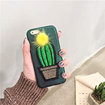 Twinlight for iPhone 7 8 Plus X XR XS Max Case Handmade Embroidery Cactus Pineapple Cute Fur Ball Glitter Laser PU Case (B, for iPhone 7plus 8plus)