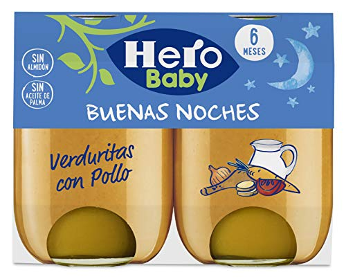 Hero Baby Buenas Noches Pollo con Verduritas Tarrito de Puré Para Bebés a partir de 6 meses Pack de 6 u de 2 x 190 g