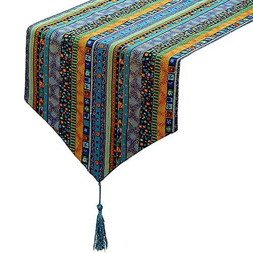 Chemin de table à Motifs géométriques, Coton et Lin, pour Table à Manger/Table Basse/Armoire/lit (Couleur : Style2, Taille : 30×200cm)