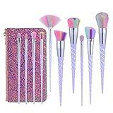 Xixiw Unicorn Makeup Brushes Set Make up Brushes Professional Foundation Powder Eyeshadow Blending Concealer Cosmetics Tools Brushes Kit with Case (10 Pcs), Light Purple