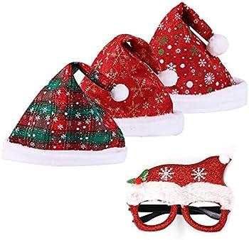3-Pack YIWINIAID Unisex Christmas Santa Hats