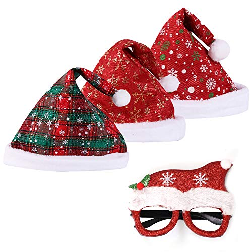 YIWINIAID Christmas Hat, Santa Hat, 3 Pieces for Unisex Adult and Child, Christmas Glasses Frames for Christmas Party, Cosplay, Christmas Ornament