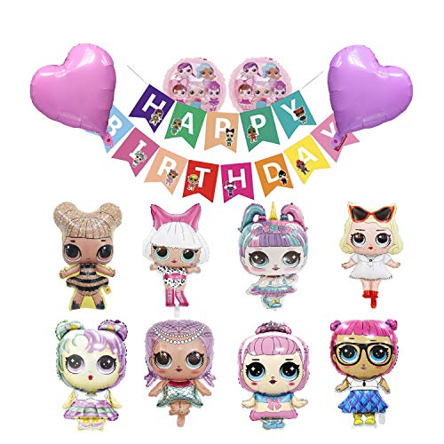 Happy Birthday Banner LOL Party Supplies, Surprise Birthday Decorations for Girls, Dolls Party Decorations