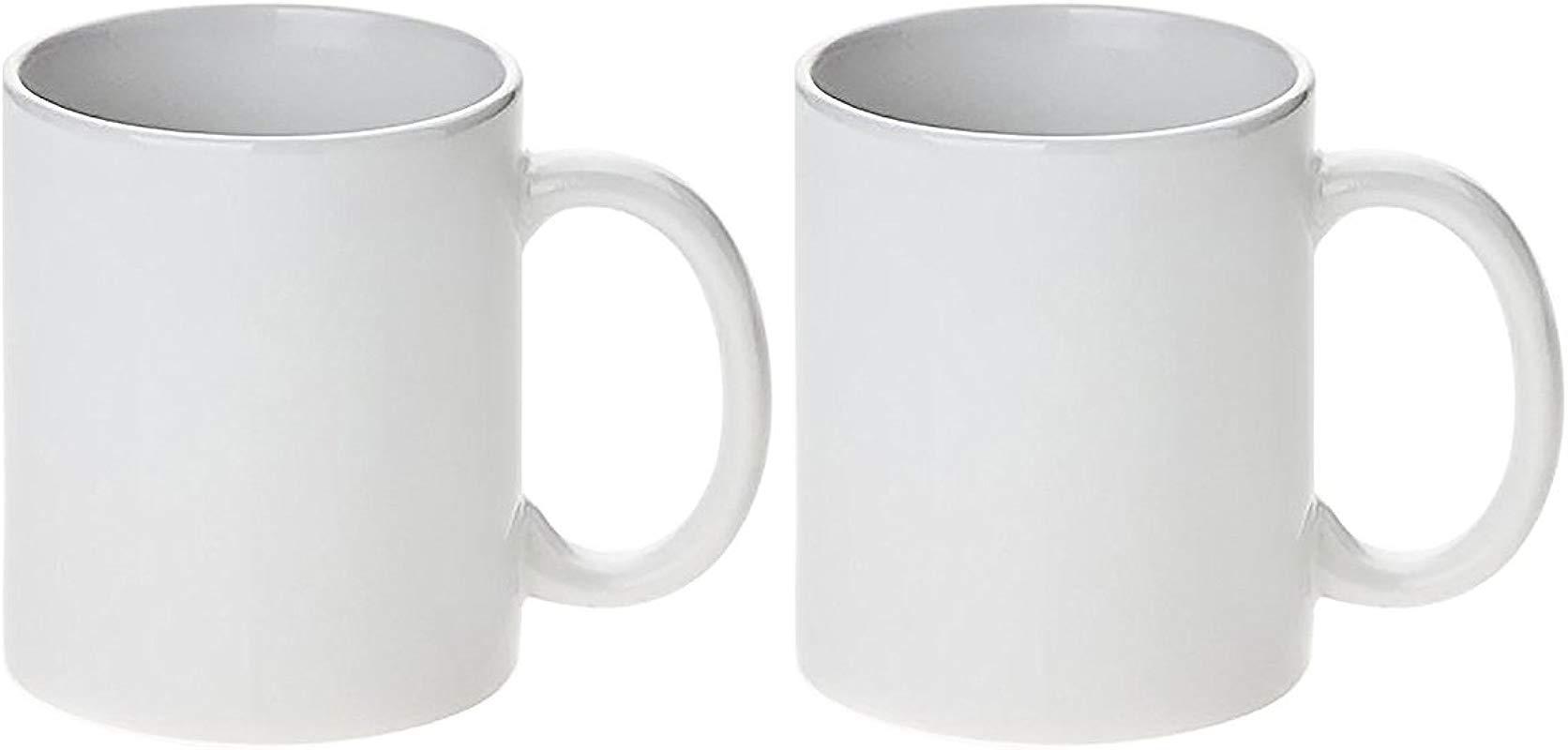 White Ceramic Sublimation Coffee Mug 11oz 2 Pack