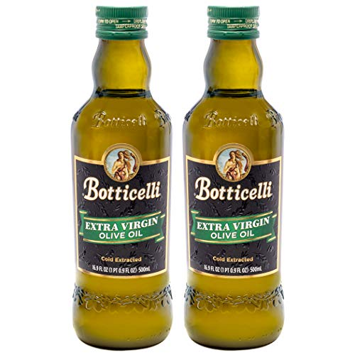 Botticelli Extra Virgin Olive Oil Cold Pressed (Pack of 2) - 100% Unrefined, Pure & Premium Olive Oil for Salad, Cooking, Baking, & Marinade - 16.9fl oz