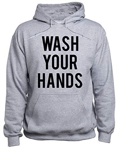 EUGINE DREAM Wash Your Hands Be Safe CoronaVirus Sweater Unisex Sudadera con Capucha Gris 4XL