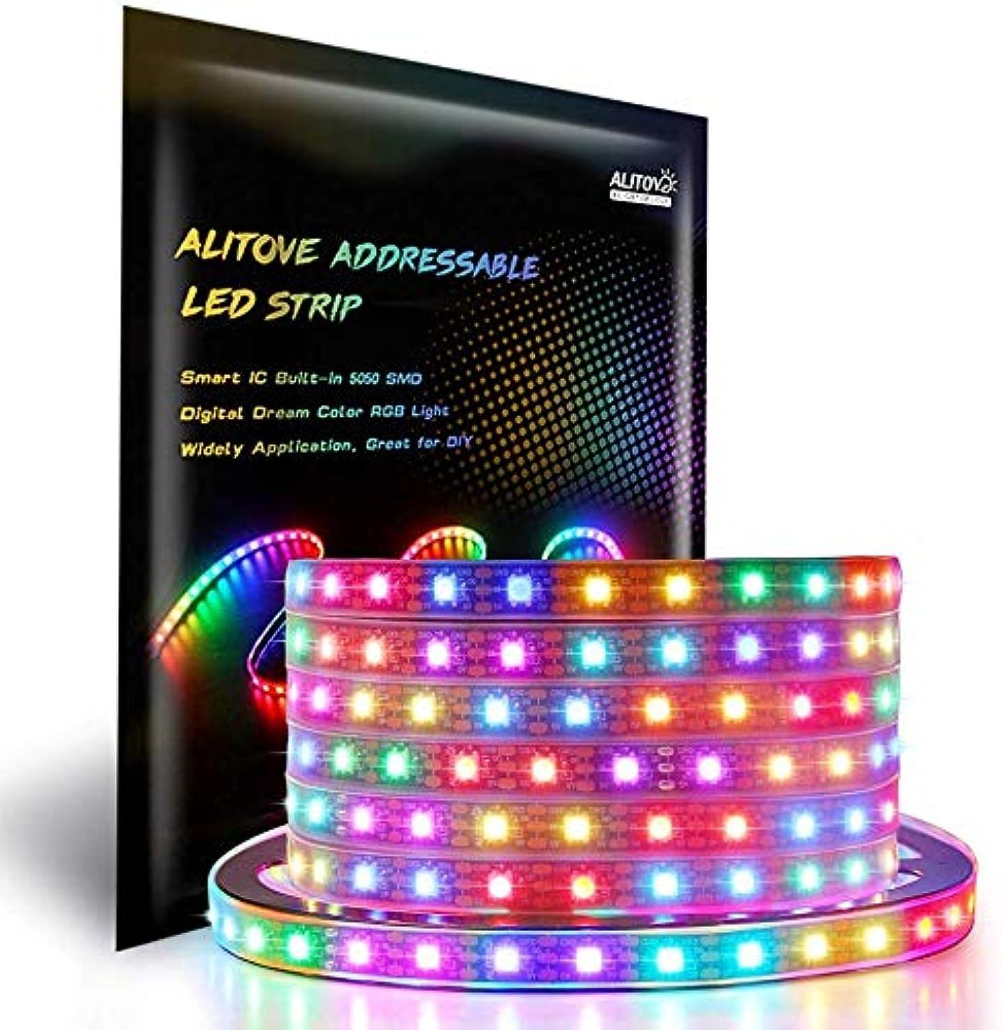 まだら家畜謝罪するALITOVE LEDテープライト WS2812Bアドレス可能 5050RGB SMD 5m 300個ピクセル夢色 防水 黒いベース DC 5V